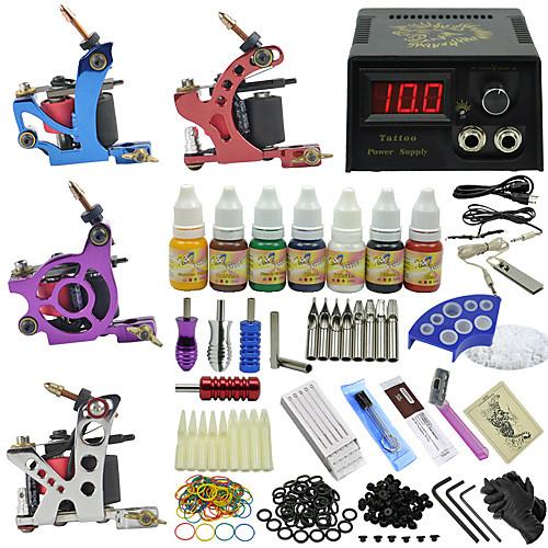 4 машины татуировки пушки татуировки комплекте с иглы татуировки Питание Устанавливают подачи чернил Lightinthebox 5572.000