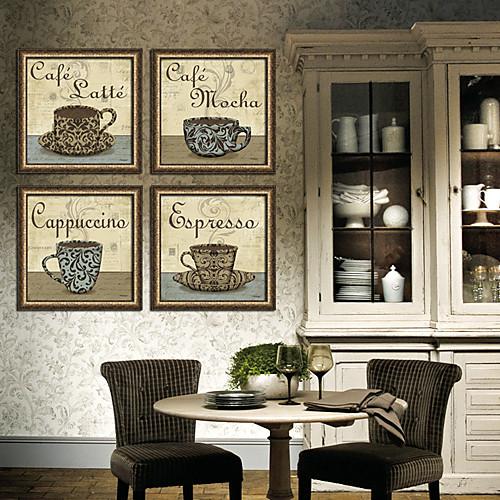 Чашка кофе натюрморт рамке печати холст набор из 4 Lightinthebox 5499.000