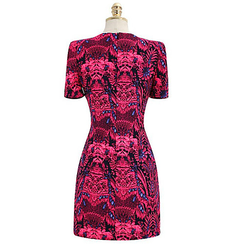 MFL фуксия печати Vintage коротким рукавом платья Lightinthebox 816.000