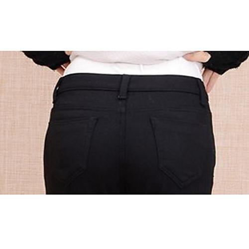 TS простотой основных упругих Velet средней талией черные брюки джинсы Lightinthebox 977.000