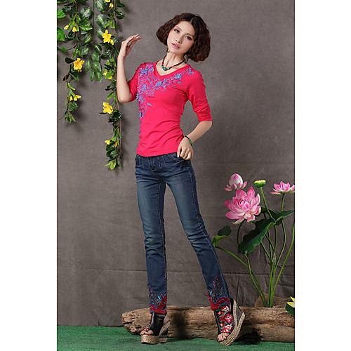 TS этнической китайской вышивкой стиля мыть джинсы простоты хлопка Lightinthebox 1396.000