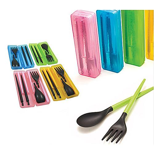 Путешествия Портативная Съемные пластиковые палочки для еды  ложка  вилка Набор с чемодан (случайный цвет) Lightinthebox 128.000