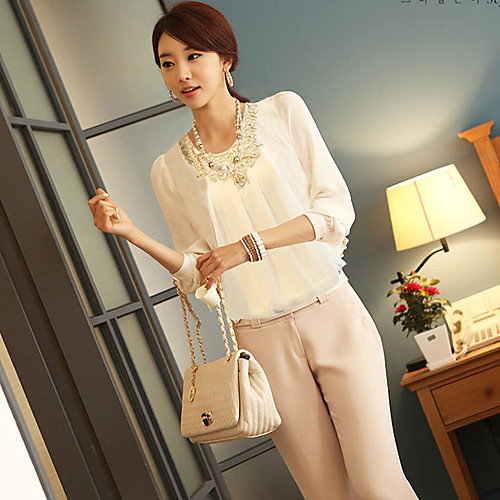 Белый Pile DOWISI Женские рубашки воротник шифон Lightinthebox 515.000