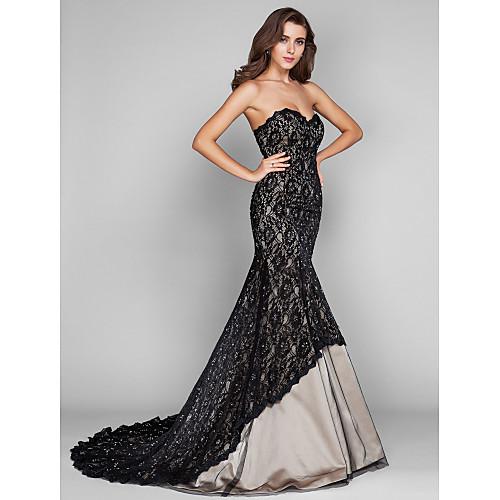 Платье-футляр вечернее кружева и тюля длиной до пола со шлейфом, силуэт русалка Lightinthebox 7734.000