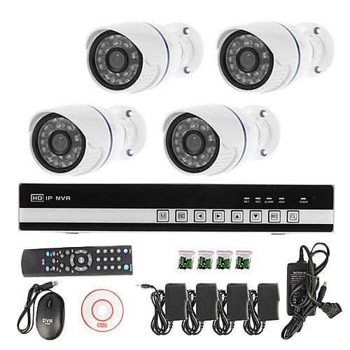 sinocam 4ch сети H.264 видеорегистратор NVR комплект системы (4шт 1.0MP мини ONVIF Водонепроницаемая камера IP), p2p Lightinthebox 9882.000