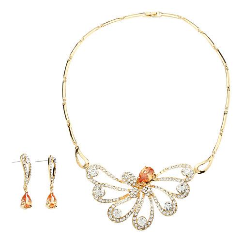 элегантный кристалла ожерелье полый бабочки и серьги комплект ювелирных изделий