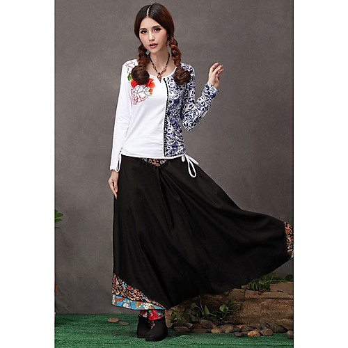 TS этнических китайцев простоте стиля вышивки качаться кисточкой длинные юбки Lightinthebox 1256.000