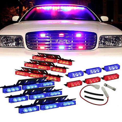 Синий Красный светодиодный 54X полицейский автомобиль палубе Решетка Strobe Предупреждающие индикаторы - 1 комплект Lightinthebox 944.000
