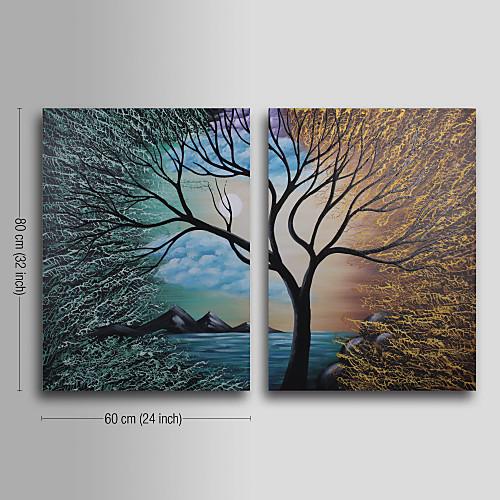 ручная роспись абстрактной живописи маслом с натянутой рамы - комплект из 2 Lightinthebox 3866.000