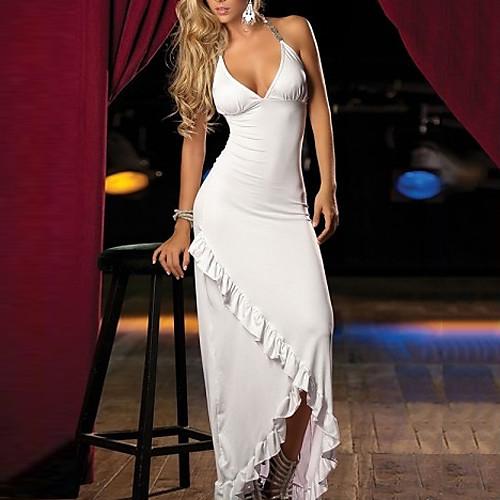 Хэллоуин Элегантный белый глубокий V Maxi платье Костюм женский Lightinthebox 858.000