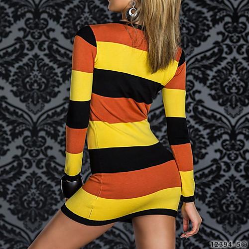 Ночной клуб Lady длинным рукавом Раскрашенная костюма партии Полосатый женщин платья Lightinthebox 858.000