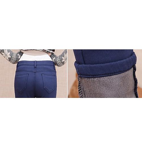 TS простотой основных упругих Velet средней талией темно-синие брюки джинсы Lightinthebox 977.000