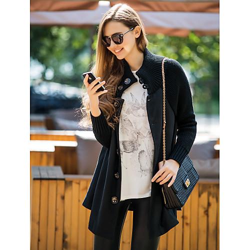Женское шерстяное пальто с трикотажным воротником и рукавами Lightinthebox 3909.000