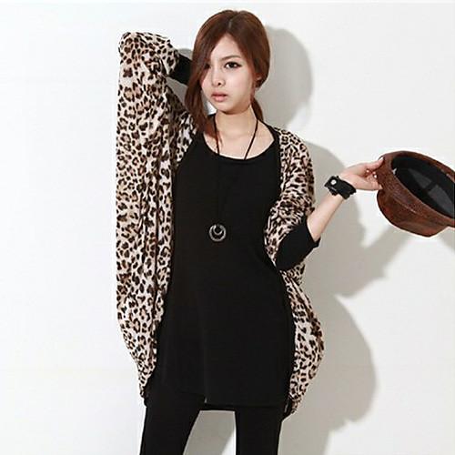 Женские Leopard Свободные Coatigan
