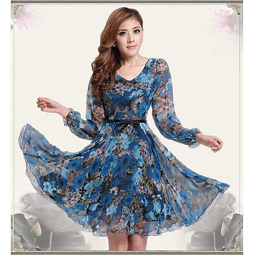 Цветочные Fit печати DOWISI Женские платья Lightinthebox 816.000