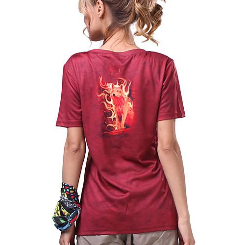 LangZu-Женские 3D печать с коротким рукавом BLCOOL футболки (красный) Lightinthebox 681.000