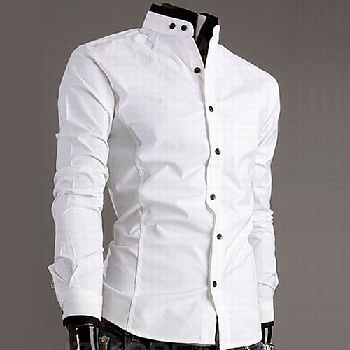 Хлопковая мужская рубашка с воротником-стойкой Lightinthebox 1088.000