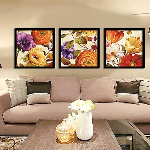 В теплых тонах цветочный лепесток подставил печати холст Набор из 3 Lightinthebox 3351.000