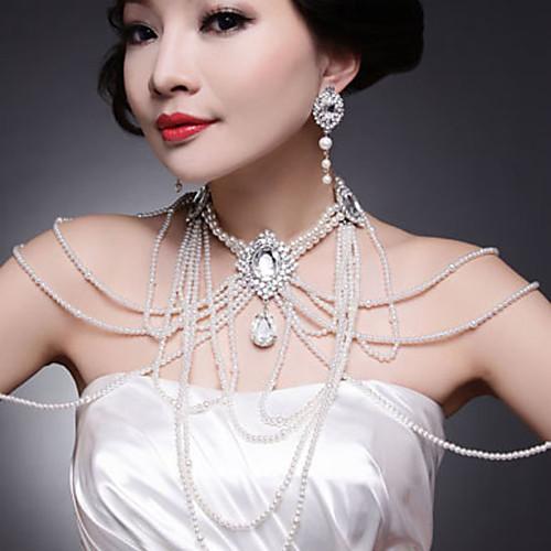 Красивый серебряный сплав с покрытием Rhinestone & Pearl Свадебные плеча ювелирных изделий цепи Lightinthebox 2135.000