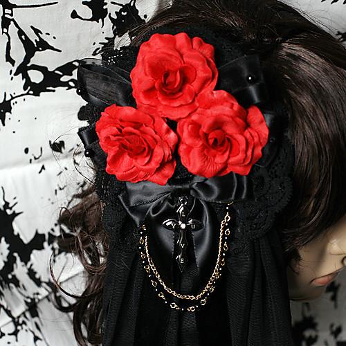 Кровавая роза ручной Черное кружево Готическая Лолита головной убор