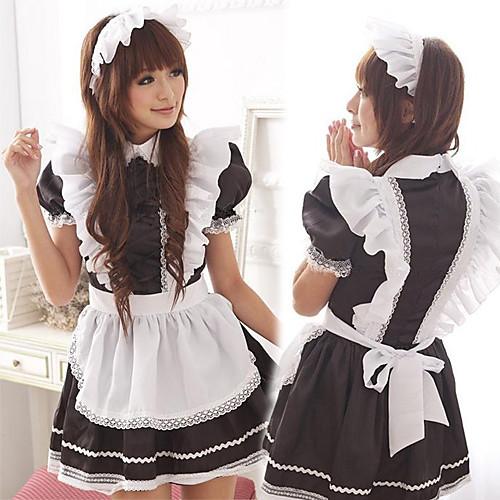 Милые девушки черно-белые оборки Равномерное Фартук Горничная Lightinthebox 1159.000