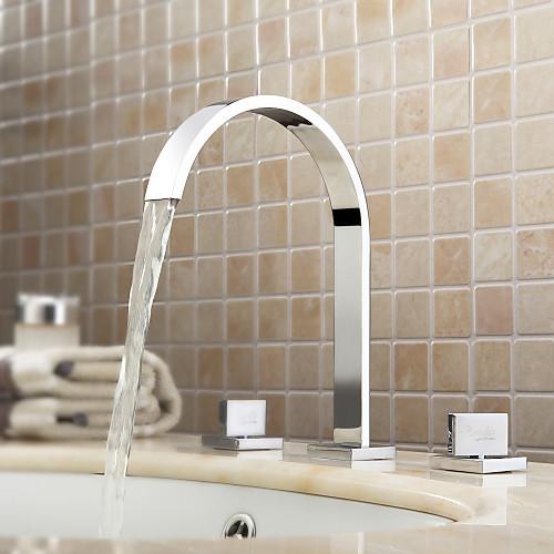 Lightinthrbox Смесители для ванной Sprinkle - Современный Хром Широко распространенный Три отверстия фото