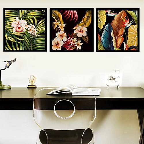Лепесток и листьев Ботанический подставил печати холст Набор из 3 Lightinthebox 3351.000