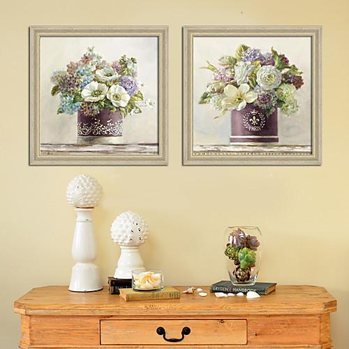 цветущий в вазе натюрморт рамке набор печати холст из 2 Lightinthebox 5070.000