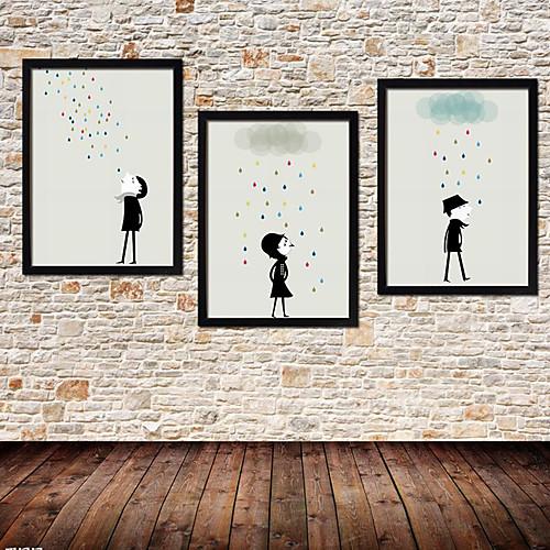 Colorfull дождь Мультфильм подставил Печать холст Набор из 3 Lightinthebox 3437.000