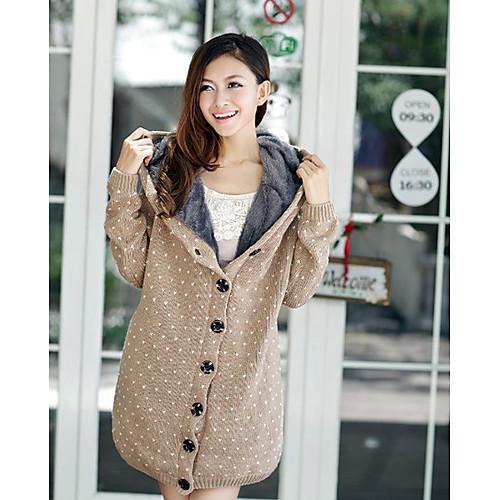 Женщин ватки с капюшоном Свободные Dots Толстые шерстяные пальто Lightinthebox 1256.000