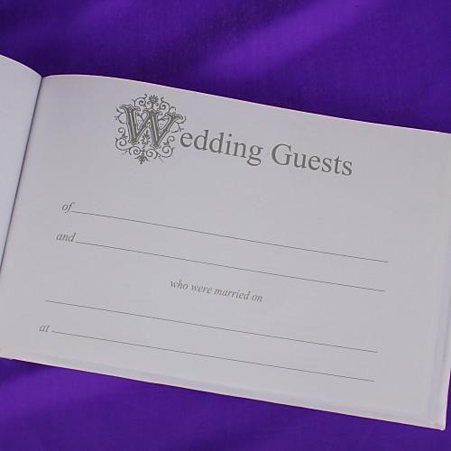 Свадебная гостевая книга и перо набор в сатин с Sash Синий