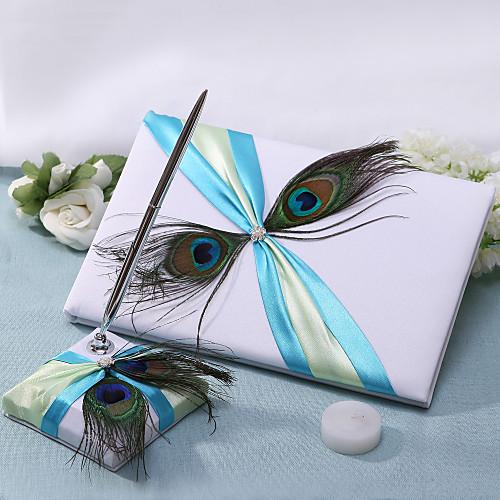 Chic гостевая книга свадьбы и Pen Set с двумя перо павлина Lightinthebox 987.000