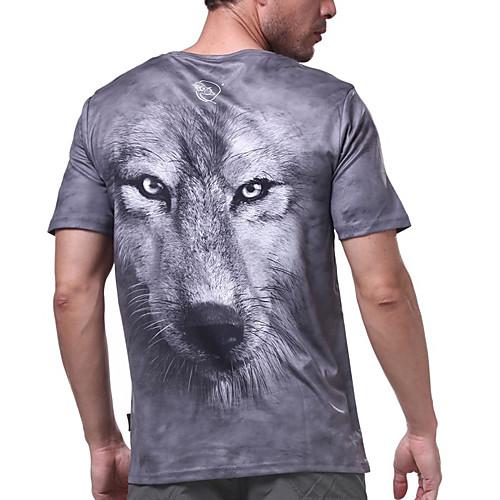 langzuyoudang мужская 3d печать с коротким рукавом футболки быстрый сухой ультрафиолетового устойчивы воздухопроницаемость серый Lightinthebox 737.000