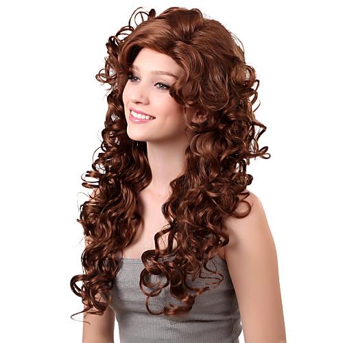 Монолитным долго синтетического шоколадно-коричневый кудрявый парик волос сторону взрыва Lightinthebox 1331.000
