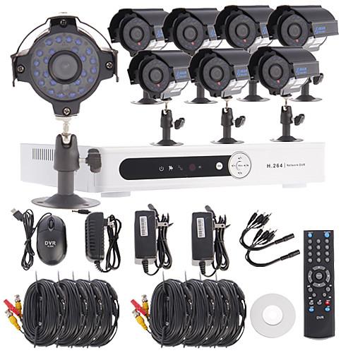 8-канальный канала D1 видеонаблюдения DVR система безопасности комплект (8шт 420TVL 1/4 CMOS непогоды камера) Lightinthebox 6703.000