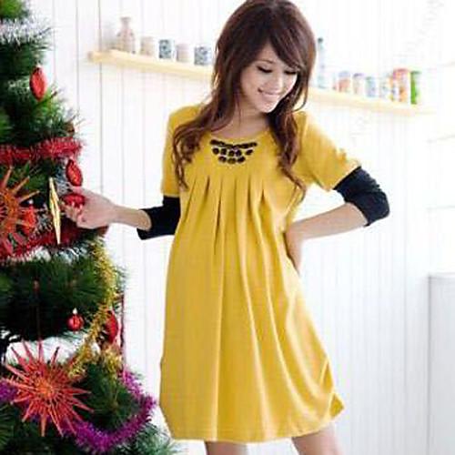 Материнство Контрастность Цвет Rhinestone складки мини платье Lightinthebox 921.000
