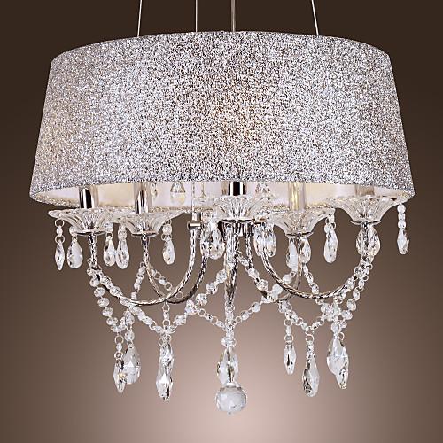 Люстра хрустальная на 5 ламп с блестящим абажуром формы барабан, современный стиль Lightinthebox 10312.000