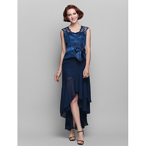 Вечернее платье-футляр с кружевным верхом и шифоновой ассиметричной юбкой Lightinthebox 5091.000