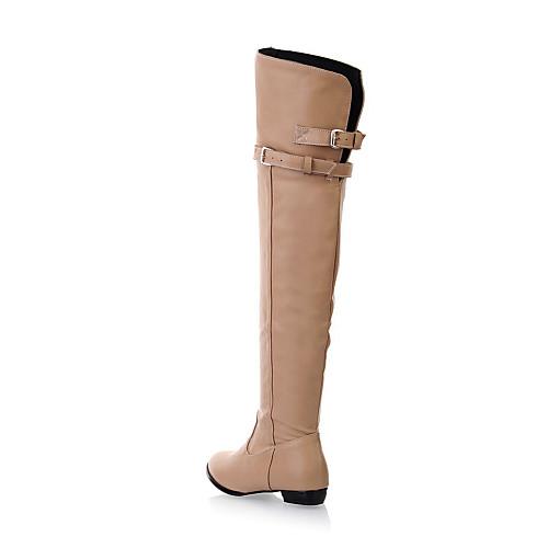 женские низкий каблук боевой колено высокие сапоги (больше цветов) Lightinthebox 1503.000