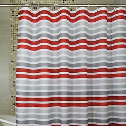 Душ занавес Красные и серые полосы печати плотной ткани Водонепроницаемость W71