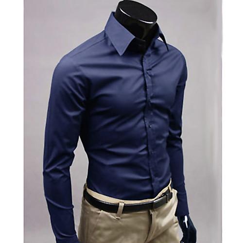 MSUIT Мужская Fit с длинным рукавом темно-синий рубашка Lightinthebox 687.000