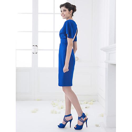 Шифоновое платье-футляр для свидетельницы, длиной до колен, силуэт колонна Lightinthebox 3351.000