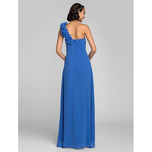 оболочкой / колонки одно плечо длиной до пола, жоржет платье невесты Lightinthebox 3402.000