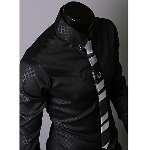 Темный ромба KICAI Мужская футболка с длинным рукавом (черный) Lightinthebox 687.000