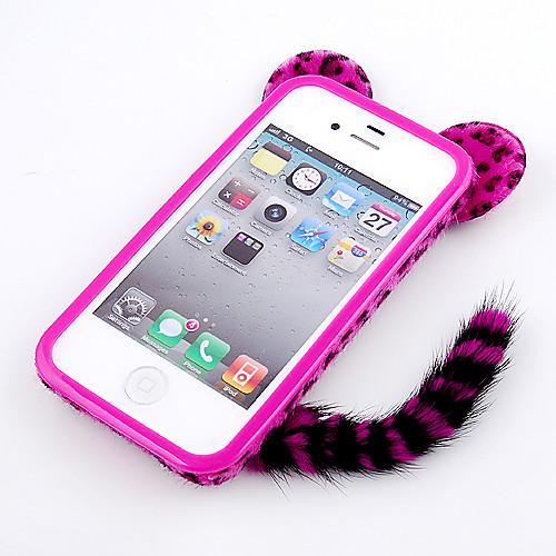 Флокирование леопардовый Cat с хвостом Разработанный Назад Чехол для iPhone 4/4S (разных цветов) Lightinthebox 261.000