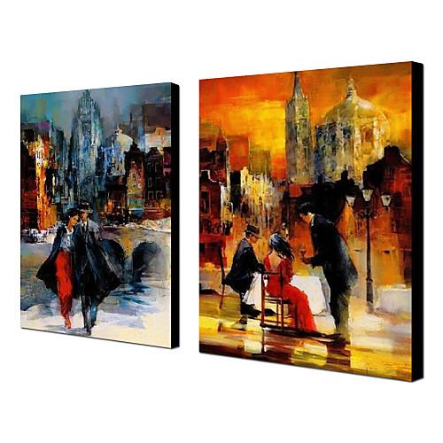 Ручной росписью маслом Люди Lovers с растянутыми кадр Набор из 2 1311-PE1148 Lightinthebox 5585.000