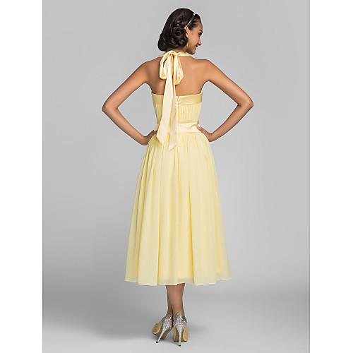 Платье для свидетельницы из шифона и стрейч атласа чайной длины Lightinthebox 2921.000