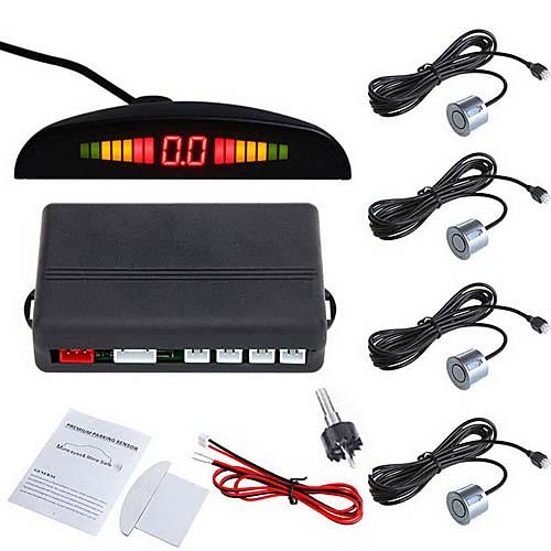Автомобильная радиолокационная система со светодиодами для парковки, с 4 датчиками (разные цвета)
