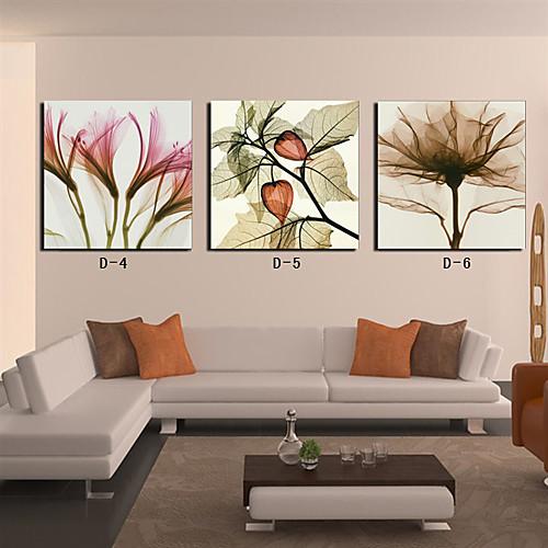 Натянутым холстом печати цветочный лепесток и листьев Набор из 3 Lightinthebox 2577.000