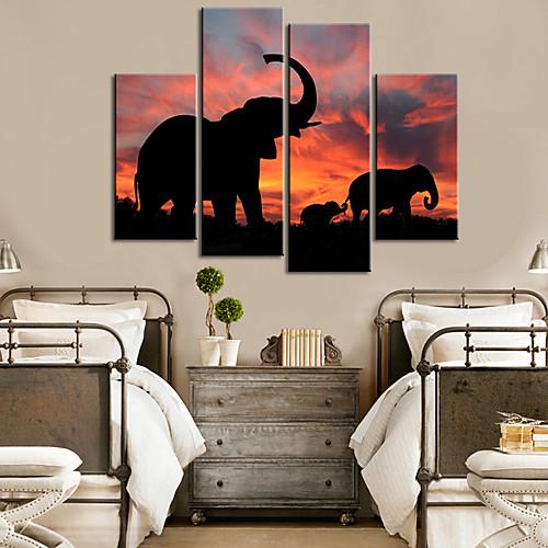 Натянутым холстом печати Слоны искусства животными Набор из 4 Lightinthebox 3437.000